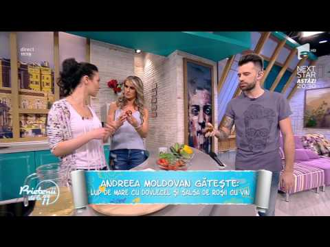 """Andreea Moldovan gătește: """"Lup de mare cu dovlecel și salsa de roșii cu vin"""""""