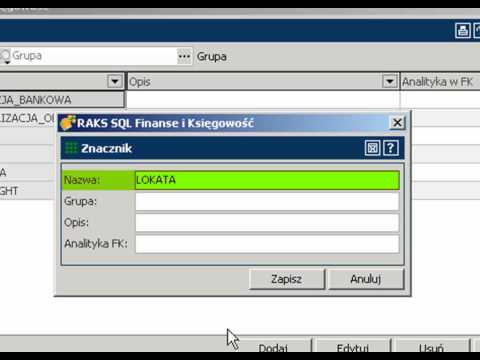 Znaczniki w programie RAKSSQL