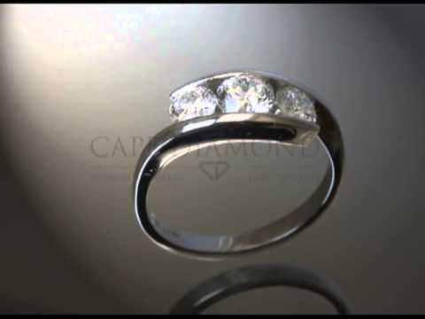 Split band,3 round diamonds,platinum,plain band,engagement ring