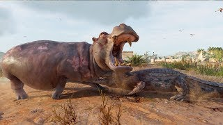 Assassin's Creed: Origins - Hippopotamus vs Crocodile - Open World Free Roam Gameplay HD