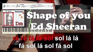 Shape of you Ed Sheeran Karaoke com voz guia das notas para flauta, piano, guitarra, letra