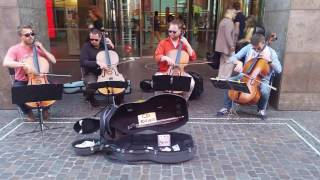 "Cello quartet playing the opening theme of ""Game of Thrones"""