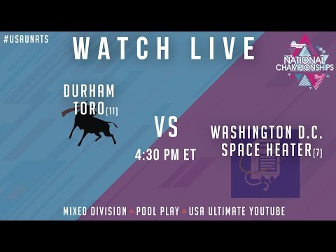 Video Thumbnail: 2019 National Championships, Mixed Pool Play: Durham Toro vs. Washington D.C. Space Heater