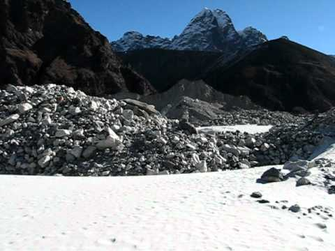 Ngozumpa Glacier view of Cho Oyu between Gokyo and Dragnag