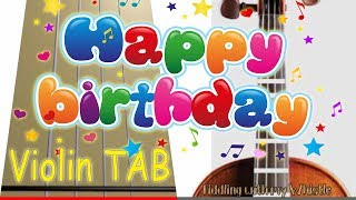 Happy Birthday to My Channel - One Year Old Today - Violin - Play Along Tab Tutorial