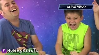 Dino Meal Game! Steals Dino Eggs + Roaring Dinosaur Family Fun HobbyKidsTV