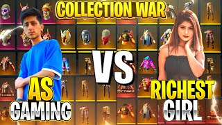 As Gaming Vs Richest Girl Collection War 😍 Free Fire Best Collection War - Garena Free Fire