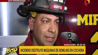 Miraflores: incendio destruye máquina de bowling