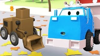 Construction Squad: the Dump Truck, the Crane and the Excavator build the Cleaning Robot in Car City