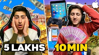 My Brother Give Me 5 Lakhs To Spend In 10 Minutes 😍 I Phone Giveaway - Garena Free Fire