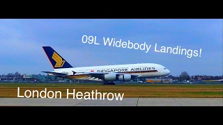 [LHR Spotting!] Widebody Landings 09L! Airside! HD!