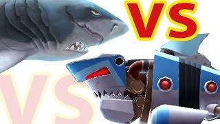 Hungry Shark Evolution Megalodon vs Robo Shark in the SKy after big ShWeekend update