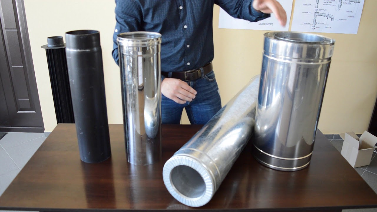 Труба димохідна двостінна нерж/оцинк 0,5 м Ø110/180 мм товщина 1 мм