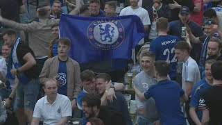 Chelsea fans react after scoring during Champions League final | AFP