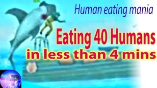Hungry Shark Evolution Eating People (40) in less than 4 mins