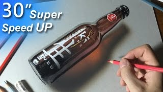 Hyper-realism, 3D Art , Drawing a bottle super speed up
