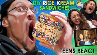 BEST DIY RICE KREAM SANDWICHES KIT!  Lex & Mike React to Younger Selves (FV Family)