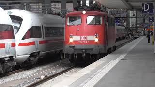 München Hbf Teil 3, Wie kommen die Loks wieder raus ? Mit 115 Bügelfalte  usw