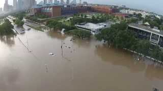 Drone Footage of Houston Flooding - Buffalo Bayou Park