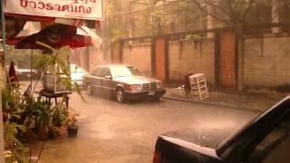 Lightning Loud Thunder Big Afternoon Rain Storm Feb 2nd Flooding Street  - Phil in Bangkok