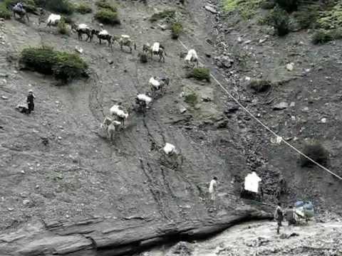 River crossing in Mustang, Nepal