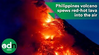 Philippines volcano spews red-hot lava into the air