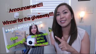 Winner Announcement! Bottle Warmer Giveaway Ft. Bable