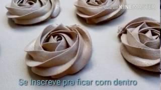Como fazer chantilly de chocolate + Rosas de chantilly + Congelamento