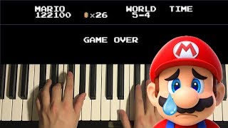 How To Play - Super Mario Bros. - GAME OVER (PIANO TUTORIAL LESSON)