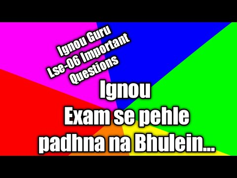 Download thumbnail for LSE-06   Important Exam Questions