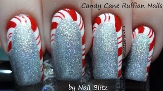 Easy Candy Cane Ruffian DIY Nail Art Tutorial