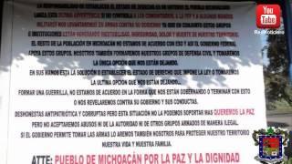 Colocan mantas contra Grupos de Autodefensa  amagan con crear guerrillas