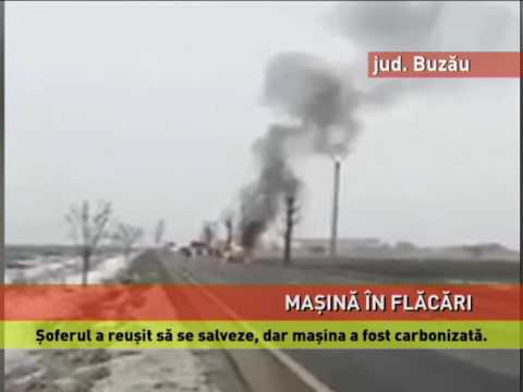 Maşină în flăcări, la Buzău