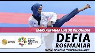 Inilah Aksi Defia Rosmaniar Peraih Medali Emas Cabang Taekwondo di Asian Games 2018 width=