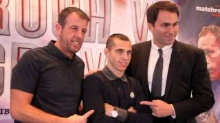 EDDIE HEARN, SCOTT QUIGG, ANT CROLLA & JOE GALLAGHER AT THE MANCHESTER PRESS CONFERENCE