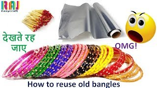 how to reuse old bangles || DIY art and craft  || Room decor from old bangle # Raj easy craft width=