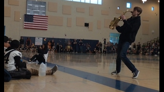 EPIC SAX BATTLE IN PEP RALLY