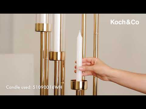Metal Spiral Candelabra 8 Glass Candle Holders Gold (135cmH)