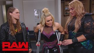 Nia Jax and Ronda Rousey check on Natalya in the trainer's room: Raw, June 4, 2018