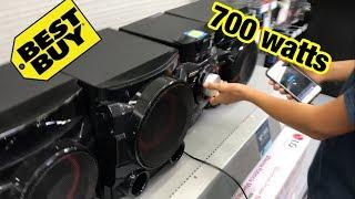 LOUD SUBWOOFER PRANK AT BEST BUY (700 watts) lg cm4550