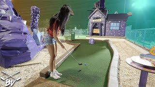 MY GIRLFRIEND'S BEST GAME OF MINI GOLF EVER WITH SO MANY HOLE IN ONES! | Brooks Holt