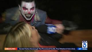 Dayna Devon gets scared at the Los Angeles Haunted Hayride