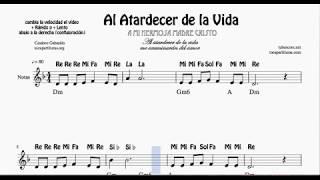 Al Atardecer de la Vida Partitura con Notas para Flauta Violín Oboe