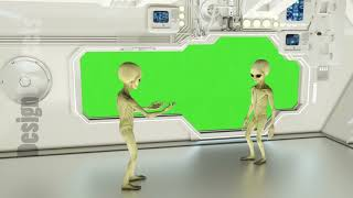 Aliens on a spaceship arguing. Green screen. A futuristic concept of a UFO
