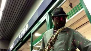 Silhouette live at Ohare Airport! Sax Therapy baby!