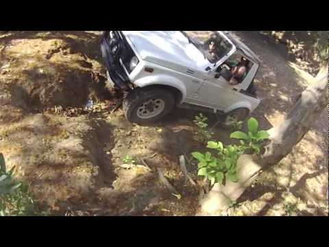 Off roading in a dried riverbed in Nicaragua