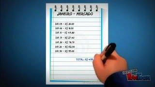 Anotações de gastos diários e planilha mensal