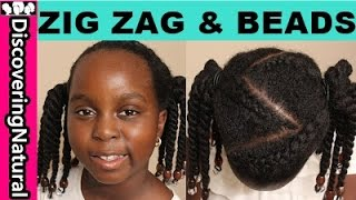 How to do Zig Zag Cornrows & Beads + 2 OPTIONS | Cute Girls Hairstyles for Natural Hair