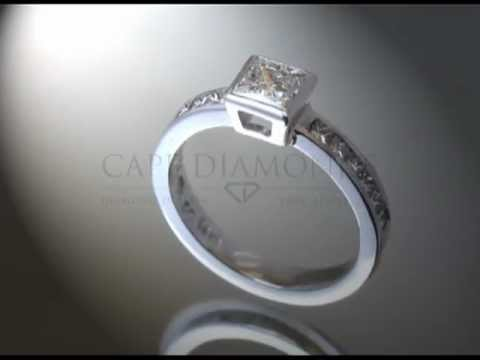 Simple side stone ring,cushion diamond,6 cushion diamonds on each side,platinum,engagement ring