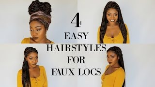 4 QUICK & EASY HAIRSTYLES FOR FAUX LOCS w/ Partial Cornrows | Jazz Nicole